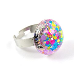 Glitter Ring - blue, pink, yellow & purple mix