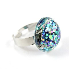 Glitter Ring - blue, purple & silver holographic mix