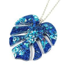 Blue glitter monstera leaf necklace