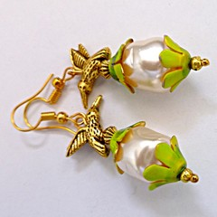 Pearl and gold bird earrings