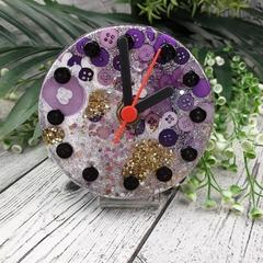 Desktop Clock - Purple Glitter Resin Buttons - silent motion - Tick Tock