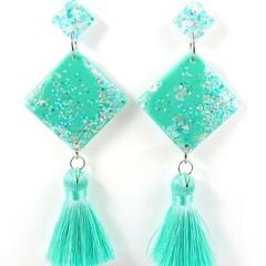 Diamond tassel earrings - aqua, white & silver iridescent mix