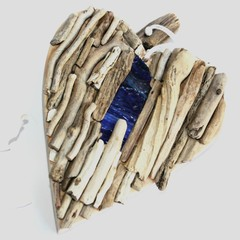 Driftwood heart with ART GLASS
