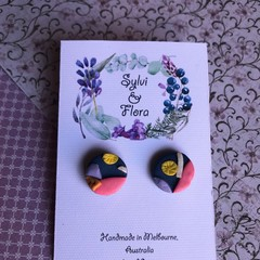 Shimmery colourful studs, petal and leaf shapes, polymer clay earrings