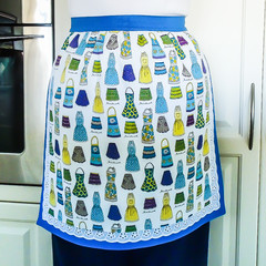 Half Apron Retro 50's Ladies apron - Kiss the Cook lined apron - 50's aprons