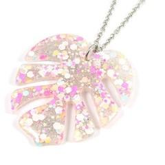 Pink & silver glitter monstera leaf necklace