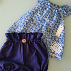 Girls Navy High Waisted Bloomers / Britches