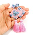 Diamond tassel earrings - pink, blue & silver holographic mix