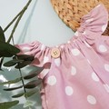 Girls Pink and White Spot Flutter Sleeve Dress  Size 1, 4, 5 & 6