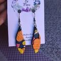Shimmery navy and orange leaf drops, polymer clay earrings