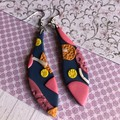 Shimmery blue drops with colourful florals, polymer clay leaf earrings
