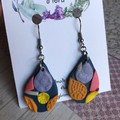 Shimmery colourful tear drops, petal-shaped, polymer clay earrings