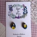 Shimmery navy studs, yellow flower shapes, polymer clay earrings