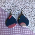 Shimmery navy and pink drops, petal-shaped, polymer clay earrings