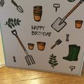 Masculine birthday card. Garden theme.