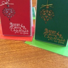 Christmas ornament. Red & silver bauble card or green & gold bauble Xmas cards.