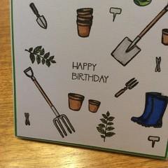 Masculine birthday card. Garden theme.