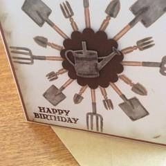 Masculine birthday card. Garden theme