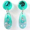 Mini teardrop dangles - transparent green & blue with silver flakes