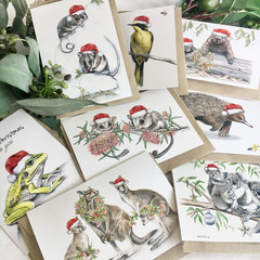 Australian CHRISTMAS card pack of 8 - mix of wildlife, animals, birds