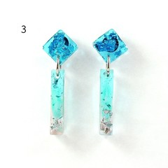 Mini rectangle dangles - transparent blue, green & pink with silver flakes