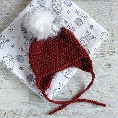 Rust Newborn Crocheted Ear flap Baby Beanie with Faux Fur Pompom