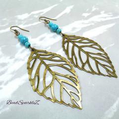 Boho Bronze Leaf Earrings with Turquoise Beads