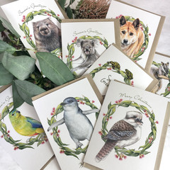 bundle of 8 Christmas cards - Australian wildlife in a gum leaf wreath