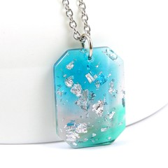 Long Octagon Necklace - Blue, green & pink with silver flakes