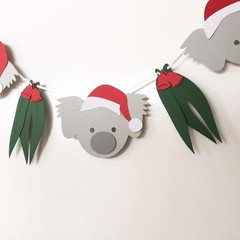 Koala Christmas Garland. Koala and gum leaf Xmas banner. Photo prop.