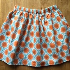 Girls Skirt - Orange Poppies