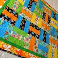 Unisex Baby or toddler patchwork quilt, play mat, rainbow elephants