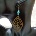 Boho Bronze Leaf Earrings with Turquoise Beads