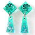 Mini trapezoid dangles - transparent green & blue with silver flakes
