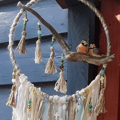 LoveBirds Beads Ribbon Blue Beach Decor Moonstone Wallhanging Driftwood Tassel