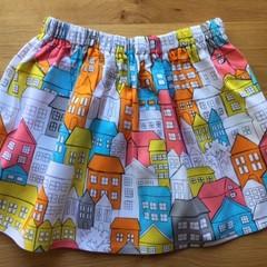 Girls Skirt - Retro Houses