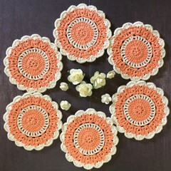 Six 'Apricot and Cream' Hand Crocheted Coasters