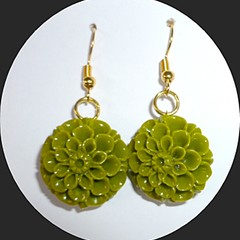 Carved green Tridacna earrings