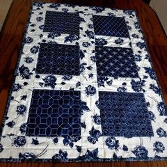 Blue and white Sashiko embroidered  and quilted table runner