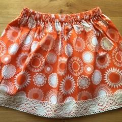 Girls Skirt - Orange Floral