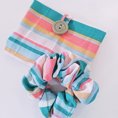 foldable eco bag + scrunchie set / PASTEL COLOUR - Stripe / gift for her / gift