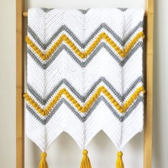 Mustard and Grey Chevron Baby Blanket