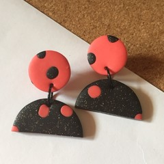 Black and Red Disco Earrings