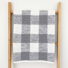 Grey Gingham Baby Blanket