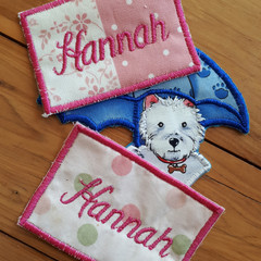Embroidered badges and name patches (x3)