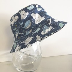 Boys summer hat in arctic animals fabric