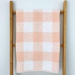 Peach Gingham Baby Blanket