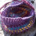 crocheted shopping carry string bag made from hemp yarn in colourful stripes