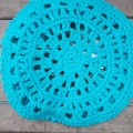 crochet slouch cap made from turquoise cotton/acrylic blend yarn. summer cap.