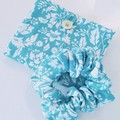 foldable eco bag + scrunchie set / AQUA - Botanical flower / gift for her / gift